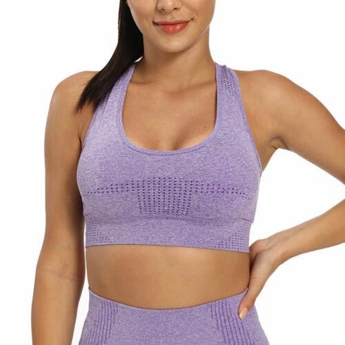 Womens Seamless Gym Leggings Fitness High Waist Yoga Pants Sports Bra Crop Top