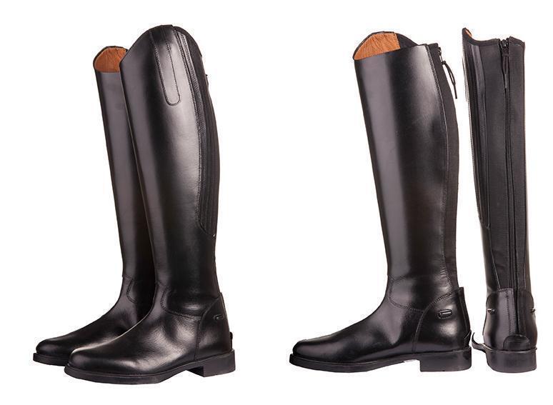 Cuir reitstiefel-rimini-, longueur longueur longueur par défaut/- large en cuir fermeture éclair arrière NEUF ff325a