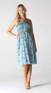 NWT-Angie-Smocked-Baby-Blue-Floral-boho-button-Summer-Sun-Midi-beach-Dress-S-M-L