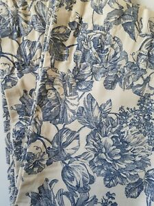 Image Is Loading Waverly Garden Toile Curtain Panel Cream Blue Fl