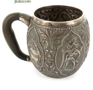 MOST-INTERESTING-ANTIQUE-SILVER-SOUTH-EAST-ASIAN-LARGE-MUG-WITH-ANTLER-HANDLE