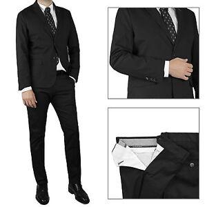 Vestito-Uomo-Nero-Completo-Sartoriale-Abito-Estivo-Casual-Slim-Cotone-Cerimonia