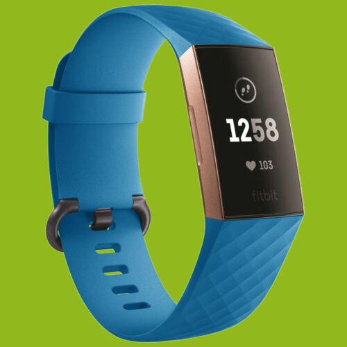 Für Fitbit Charge 3 Kunststoff Silikon Armband für Männer Größe L Blau Uhr