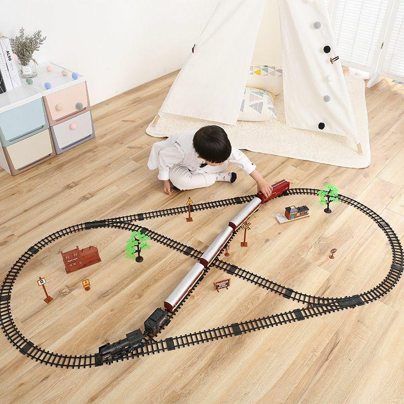 Train Track Smoke Simulation Electric Classical Modelll Spielzeug hochspeed Retro Rail