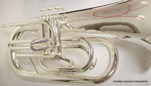 Bb-Silver-MARCHING-EUPHONIUM-Double-Bracing-HUGE-SOUND-Special-School-band-Sale