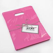 100 9x12 Pink Plastic Retail Die Cut Handle Merchandise Bag Boutique