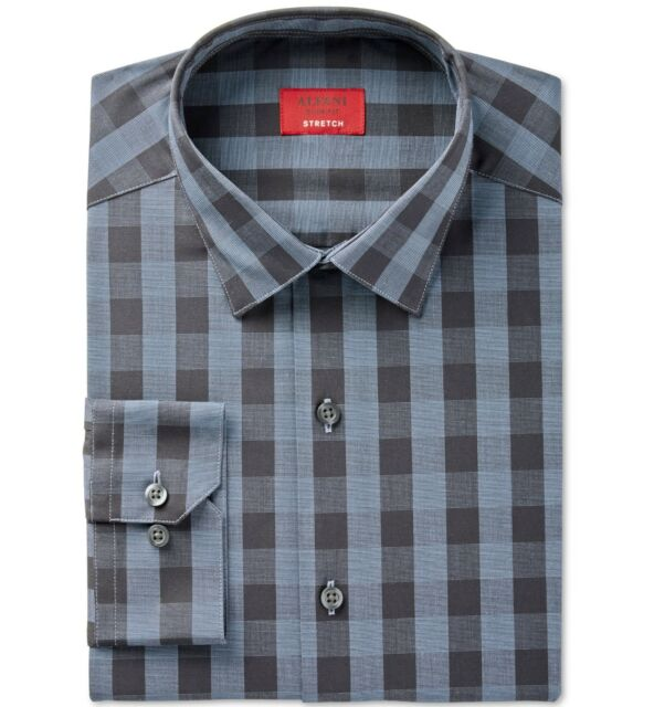 8e777375 Alfani Slim Fit Stretch Men's Night Sky En Gingham Dress Shirt Small ...