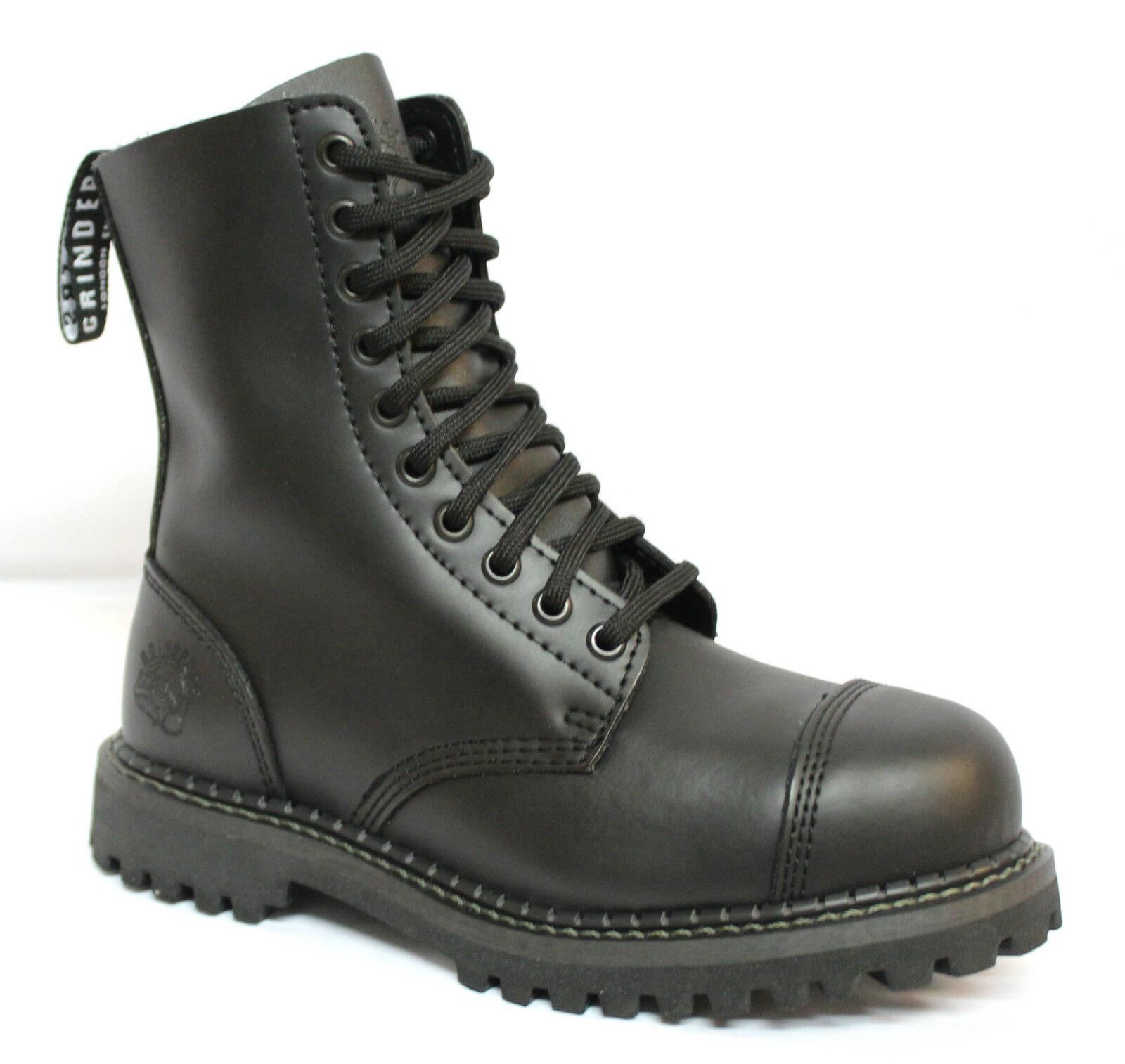 Grinders Schwarz Unisex 100% Punk Leder Sicherheit Stahlkappe Militär Punk 100% Stiefel 5ab9bf