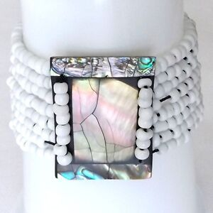 ABALONE SHELL BRACELET ELASTICATED RAINBOW PEARL SHELL FRAME WITH WHITE BEADS - sheffield, United Kingdom - ABALONE SHELL BRACELET ELASTICATED RAINBOW PEARL SHELL FRAME WITH WHITE BEADS - sheffield, United Kingdom