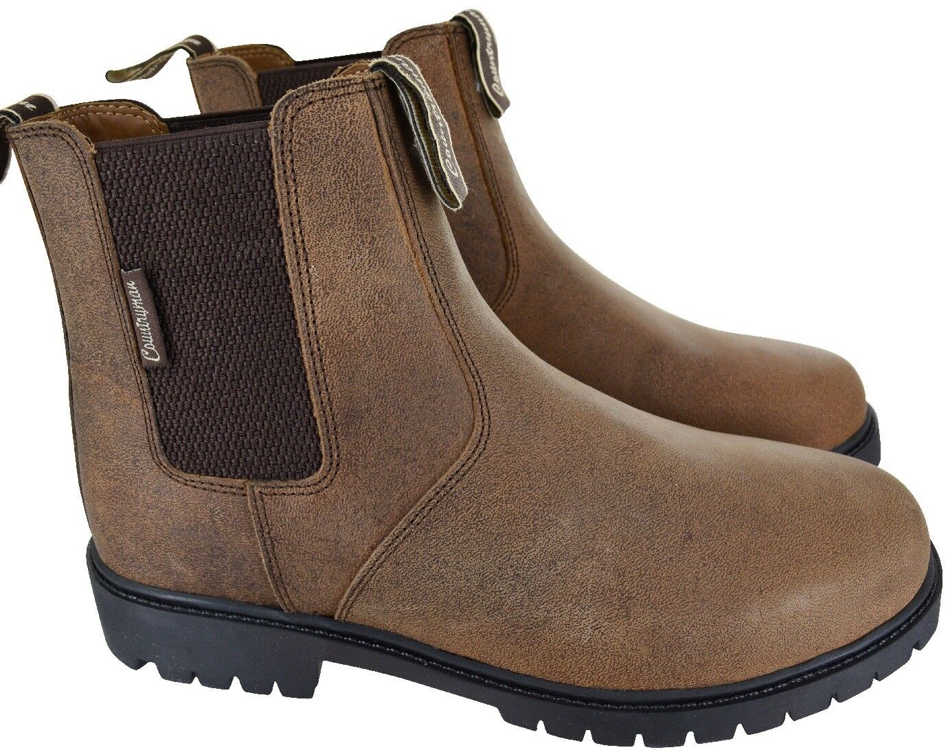 MENS LEATHER WAXY BROWN CHELSEA GUSSET DEALER PULL ON CASUAL BOOTS SHOES SZ 7-11