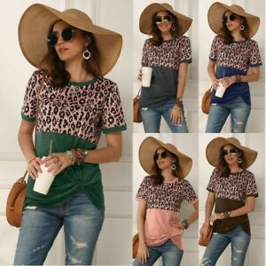 Womens-Casual-V-Neck-Solid-Pullover-Blouse-O-Neck-T-Shirt-Floral-Jumper