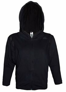 ADIDAS-Women-039-s-Hoodie-Full-Length-Zip-Relaxed-Fit-3-4-Sleeve-Black-Top-Logo-BNWT