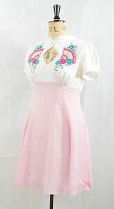 NEW-ORIENTAL-FANS-PINK-amp-WHITE-DRESS-XS-S-M-L-JAPANESE-ANIME-LOLITA-EMBROIDERED