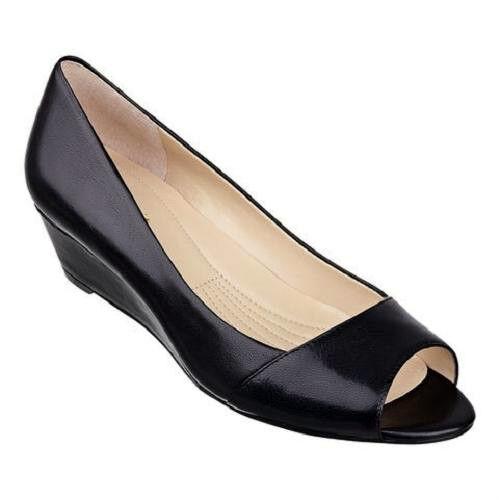 Easy Spirit Vonni black leather wedge pumps 6 WIDE New