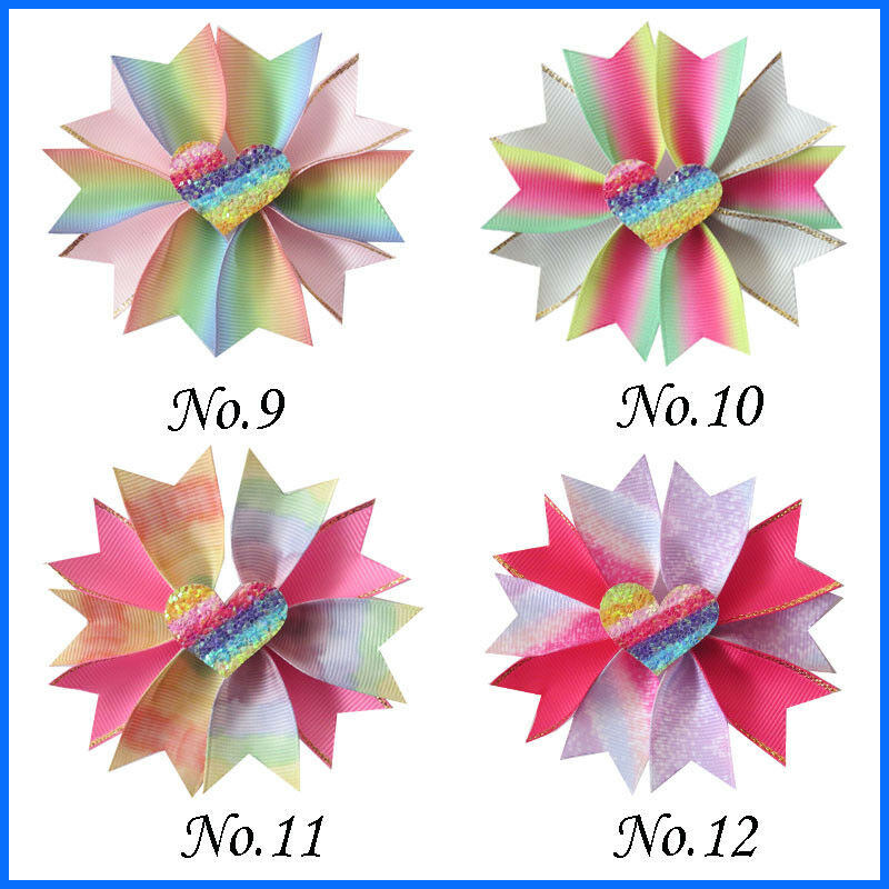 "20 Girl 3.5/"" Rainbow Fairy Hair Bow Clip Valentine Easter Crown Love Star Baby"
