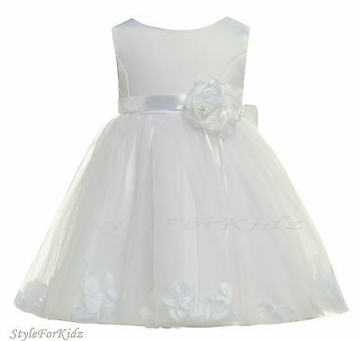BABY GIRL WHITE/PINK FLOWERGIRL DRESS CHRISTENING WEDDING BRIDESMAID DRESSES