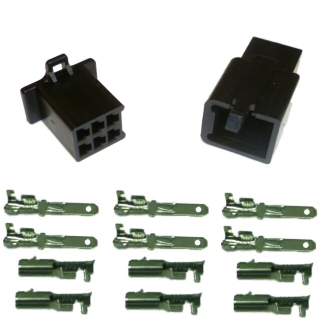 2.8mm 110 series Motorcycle Mini-Latch - Wiring Connector Set - 6 way (BLACK)