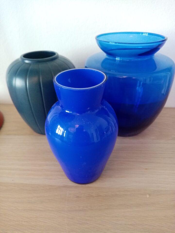 Vase, 3 blå vaser, Ipsens enke og 2 x Holmegaard