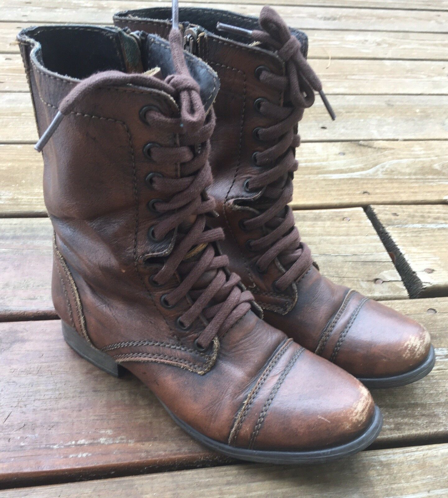 Steve Madden Troopa Leather Combat Boots Distressed 7 Brown Zip   Lace