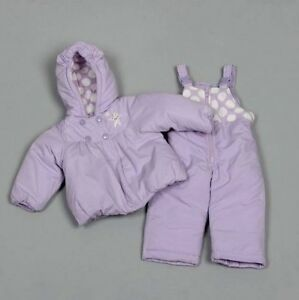 Carter's Toddler Girls Purple W/ Polka Dot 2pc Snowsuit W/ Gloves Size 12months To Enjoy High Reputation In The International Market Baby & Toddler Clothing