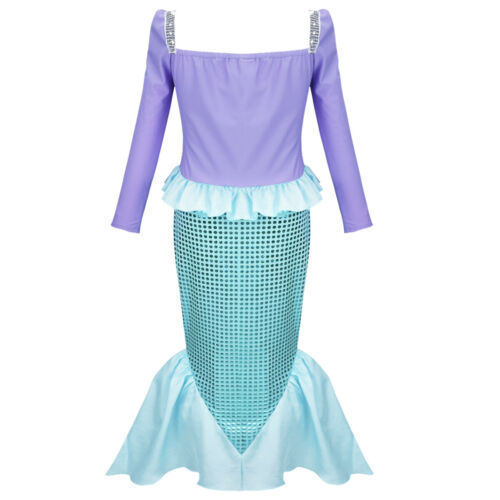 UKKid Mermaid Princess Dress Girl Halloween Outfit Fancy Cosplay Fairytale Skirt