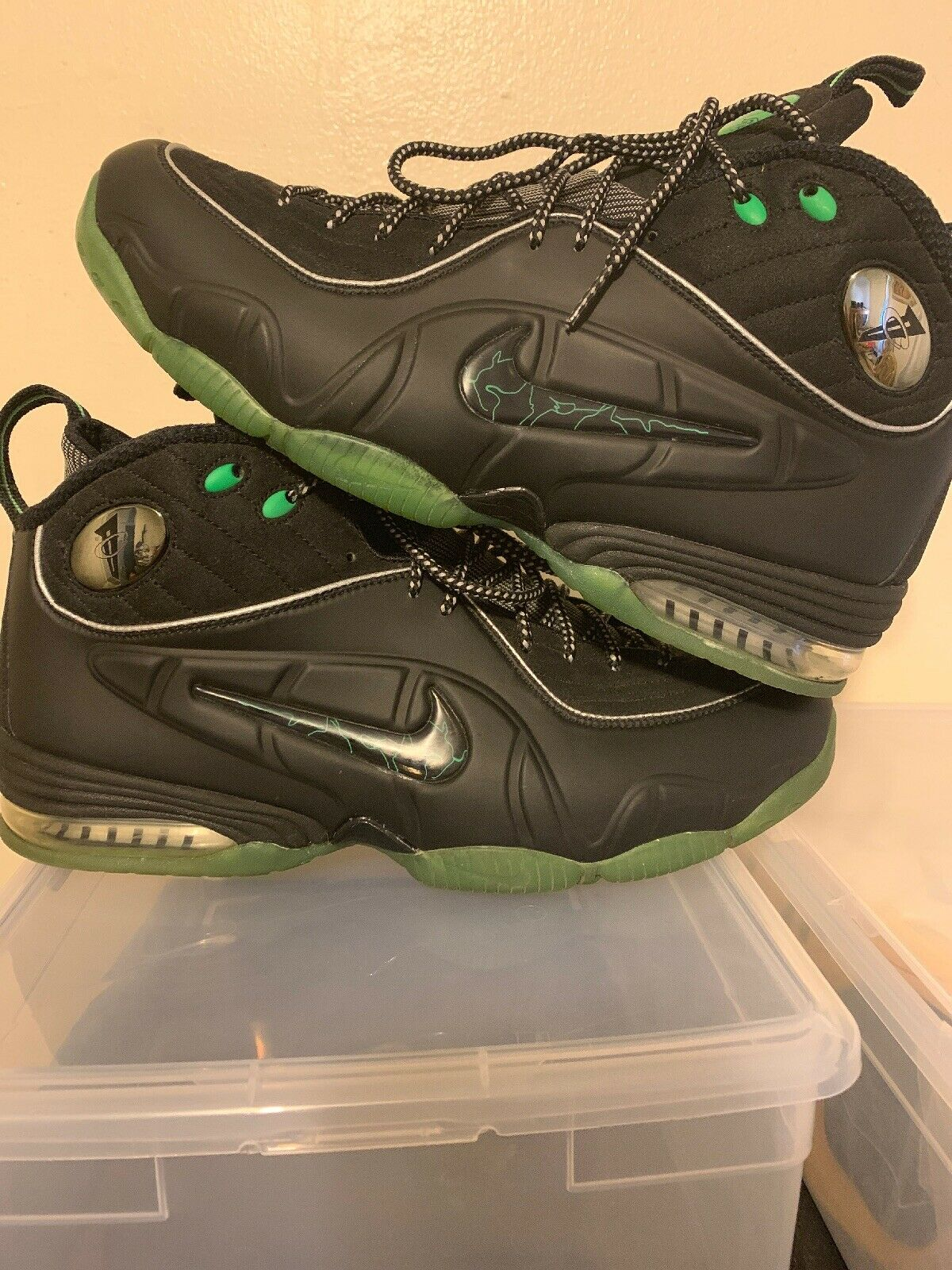 Nike Air 2009 Penny Hardaway 1 2 Half Cent Black Green 344646-002 Size 11 worn