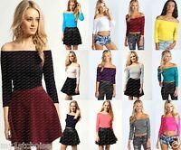 New Ladies Womens Off The Shoulder Top Ladies 3/4 Sleeve Crop Top UK SIZE 8-14