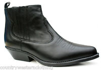 Ladies Western Black Ankle Leather Line Dance Shoes Boots Elasticated Sides 7444