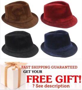 VELVET Men Women Unisex Fedora Hat Trilby Cuban Style Upturn Short ... 869a531f4ce