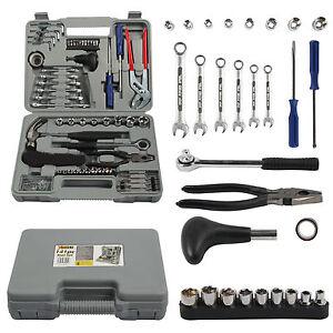 New-Complete-Tool-Kit-141-Piece-Case-Screwdriver-Sockit-Hammer-Tool-DIY-Set