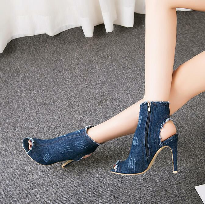 Womens Jeans Ankle Boots Open Toe Slingback Denim Zip Stilettos High Heel Lady 8