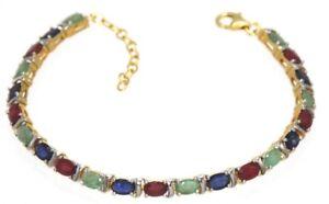 Bracelet-Sapphire-Emerald-amp-Ruby-925er-Silver-18-0-CM