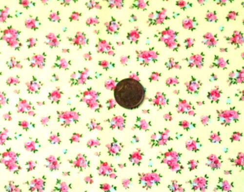100/% COTTON FABRIC FQ/'S LEMON WITH TINY POSIES OF PINK /& BLUE FLOWERS