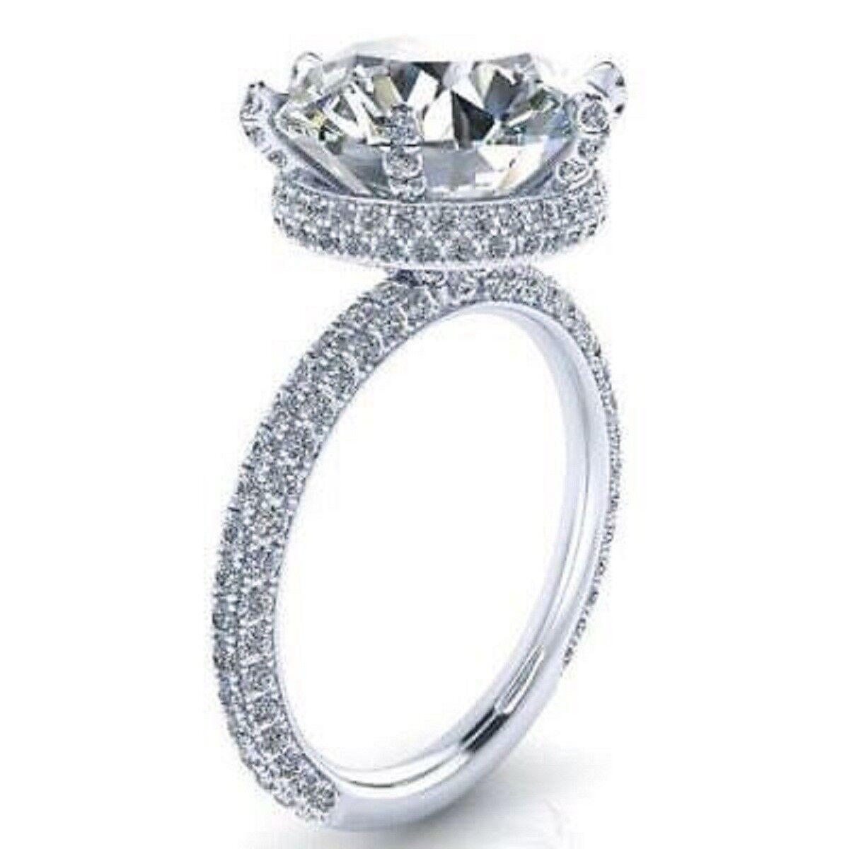 Certified 14K White gold 3.80Ct White Round Diamond Engagement & Wedding Ring