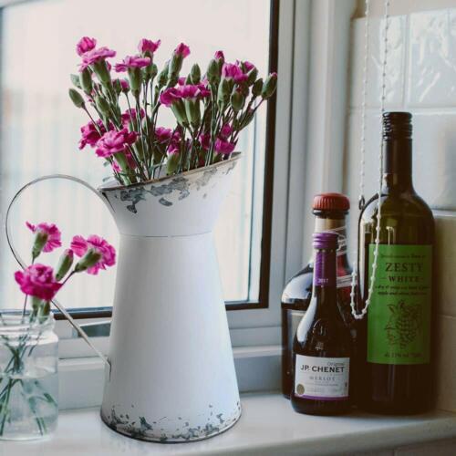 Rustic Jug Vase Pitcher Flower Holder Wedding Decoration Shabby Chic Metal Farm