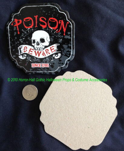 Gothic--POISON-BEWARE-SKULL--COASTERS Bar Drink Pirate Party Decorations-8pc SET