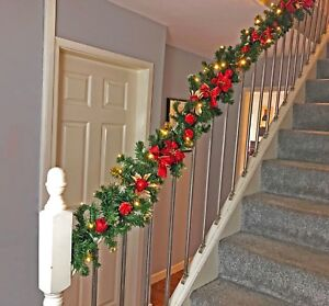 Details About Pre Lit 2 7m 1 8m Red Stairs Fireplace Christmas Garland Led Warm White Lights