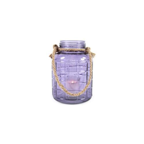 Glaslaterne SHELLY mit Henkel Glas lila 21cm D 14cm Decostar WA Windlicht