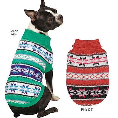 Chalet Dog Turtleneck Sweater Pet  Zack & Zoey Pet Apparel green pink NEW
