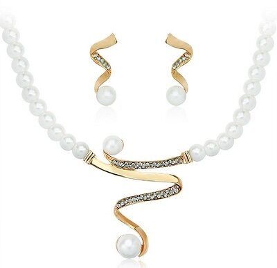 18k Gold Plated Wedding Party Set Wedding Bridal Pearl Earring Necklace Set XS4