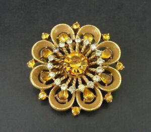 Vintage amber stones rhinestones brooch pin