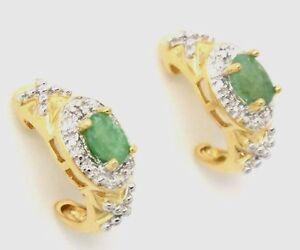 Smaragd-Ohrstecker-Smaragd-amp-Diamant-925er-Silber