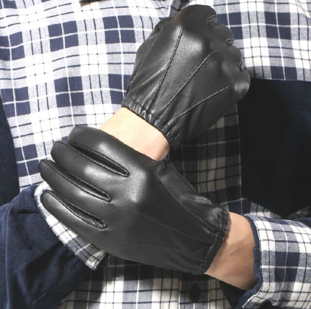 New Men's 100% leather Police Gloves * Black & Brown
