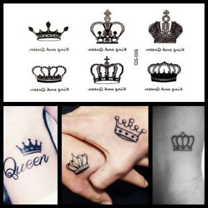Details About Mini King Queen Crown Temporary Tattoo Royal Wedding Mini Party Tattoo
