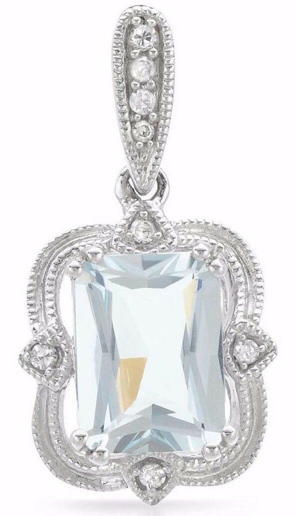 PENDANT WITH 1.39CTW GENUINE AQUAMARINE AND DIAMONDS 14K WHITE gold LENGTH 20MM