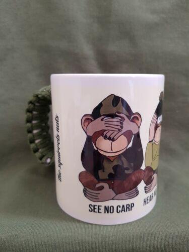 Carp Fishing Mug three unwise monkeys with green paracord handle /& stickers
