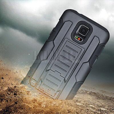 Black Rugged Hybrid Armor Impact Hard Case Belt Clip Holster Kickstand Cover