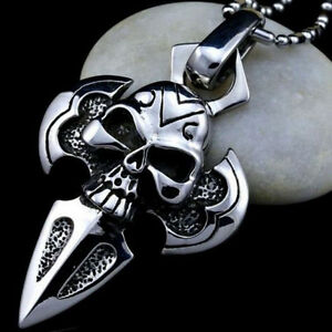 Men-039-s-Gothic-Stainless-Steel-Silver-Skull-Pendant-Choker-Chain-Necklace-Jewelry