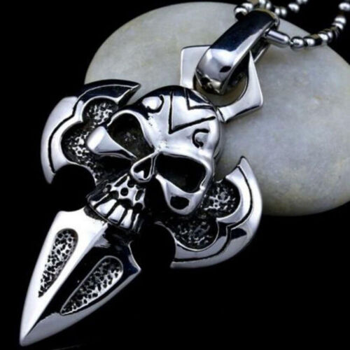Charm Men Retro Silver Stainless Steel Skull Pendant Chain Necklace Jewelry Gift