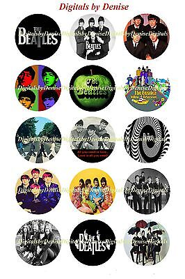 """$2.45-$5.50 *****FREE SHIPPING***** THE BEATLES 1/"""" CIRCLES  BOTTLE CAP IMAGES"""